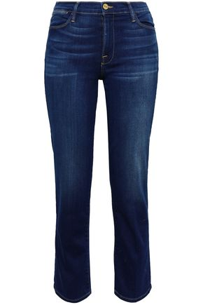 FRAME Faded high-rise straight-leg jeans