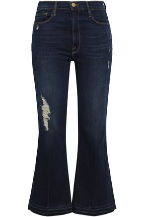 FRAME Distressed high-rise kick-flare jeans