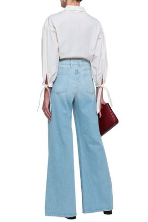 FRAME Faded high-rise wide-leg jeans