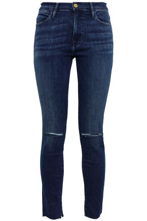 FRAME Distressed faded high-rise skinny jeans