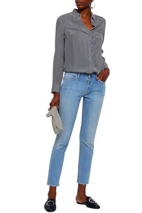 FRAME Studded faded high-rise skinny jeans
