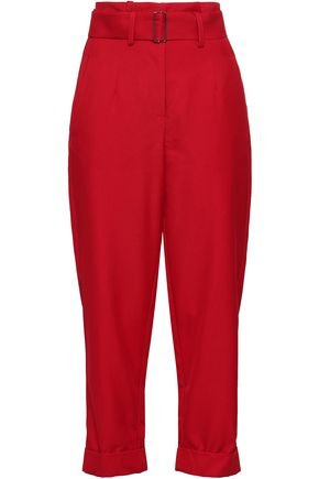 NICHOLAS Cropped belted twill tapered pants