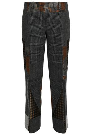 ETRO Patchwork jacquard and houndstooth wool straight-leg pants