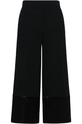 VICTORIA, VICTORIA BECKHAM Satin-trimmed crepe culottes