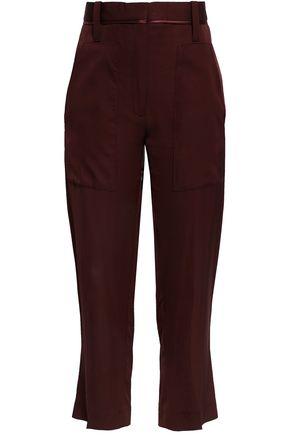 VICTORIA, VICTORIA BECKHAM Satin-trimmed crepe straight-leg pants