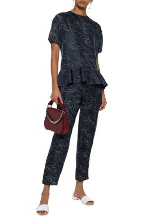 VICTORIA, VICTORIA BECKHAM Cropped printed silk-twill straight-leg pants