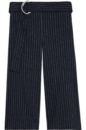 VICTORIA, VICTORIA BECKHAM Belted pinstriped linen-blend culottes