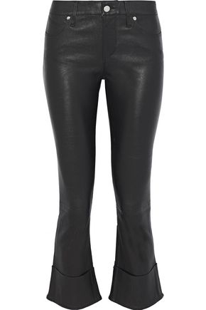 RTA Cropped leather bootcut pants
