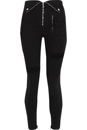 RTA Diavolina distressed zip-detailed skinny jeans