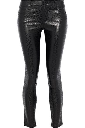 RTA Cropped leopard-print leather skinny pants