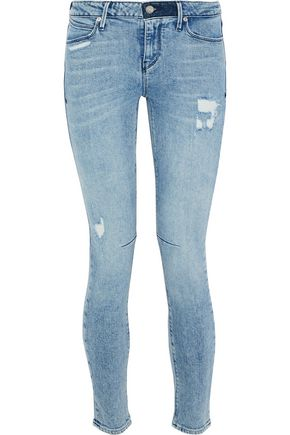RTA Distressed low-rise skinny jeans