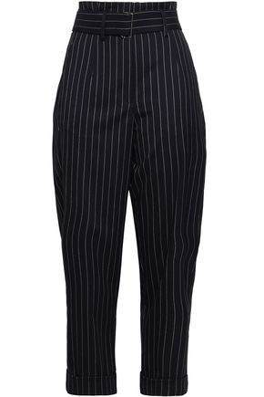 NICHOLAS Cropped belted pinstriped canvas tapered pants