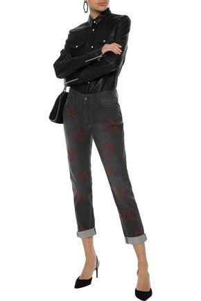 STELLA McCARTNEY Embroidered mid-rise slim-leg jeans