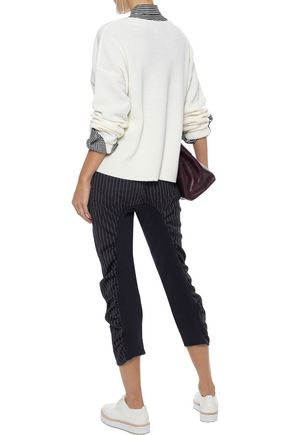STELLA McCARTNEY Tina cropped paneled pinstriped wool-blend slim-leg pants