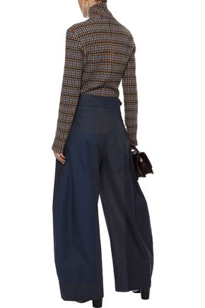 STELLA McCARTNEY Benni gathered checked cotton-poplin wide-leg pants