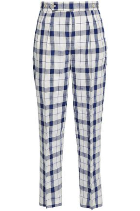 ETRO Checked linen and cotton-blend tapered pants