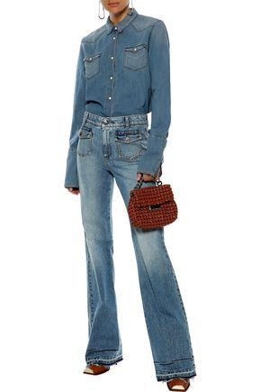 STELLA McCARTNEY Frayed faded high-rise bootcut jeans
