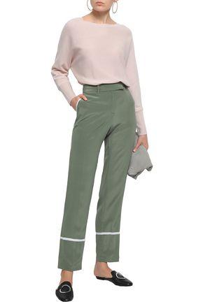 EQUIPMENT Color-block washed-silk straight-leg pants