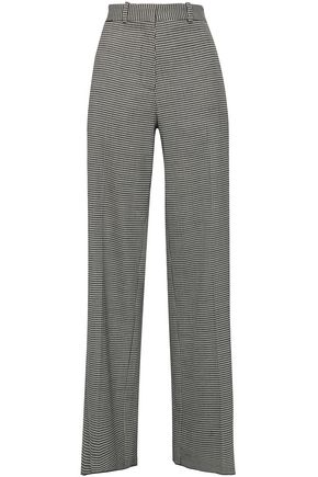 VICTORIA BECKHAM Houndstooth wool-blend wide-leg pants