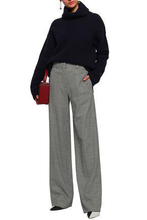 VICTORIA BECKHAM Houndstooth wool-blend wide-leg pants