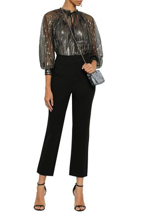 ELIE TAHARI Cropped stretch-jersey slim-leg pants