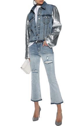 RTA Distressed painted low-rise kick-flare jeans
