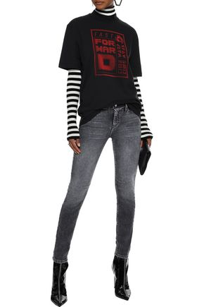 RTA Faded low-rise skinny jeans