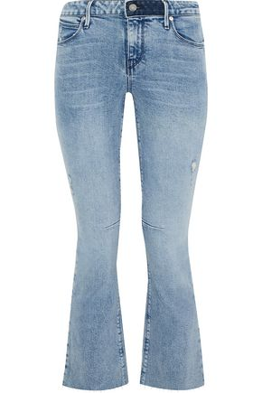 RTA Cropped frayed mid-rise bootcut jeans