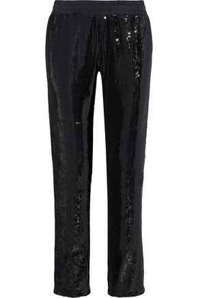 RTA Sequined twill straight-leg pants