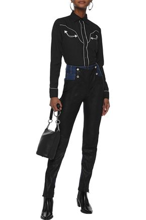 EACH X OTHER Button-detailed leather-paneled high-rise skinny jeans