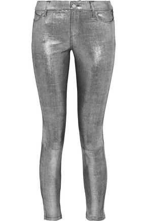RTA Metallic snake-effect leather skinny pants