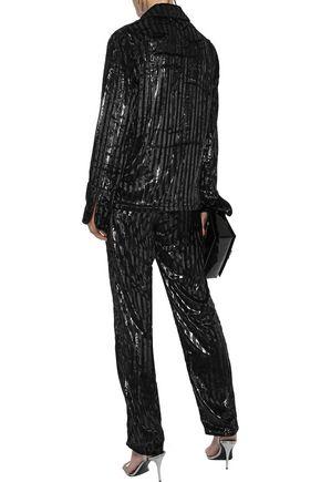 RTA Ash metallic striped velvet straight-leg pants