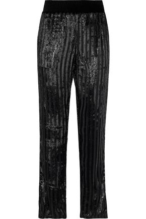 RTA Ash metallic striped velvet straight-leg pants