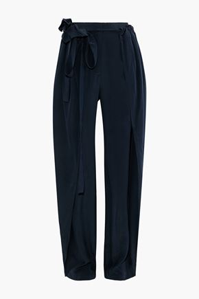 STELLA McCARTNEY Layered gathered washed-silk tapered pants