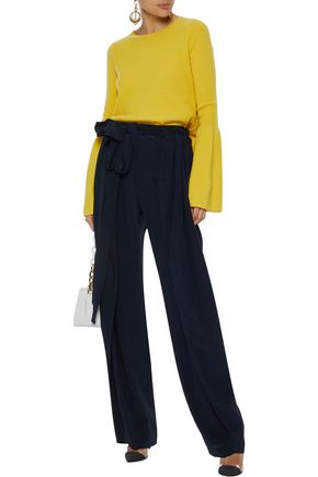 STELLA McCARTNEY Ruffle-trimmed silk wide-leg pants