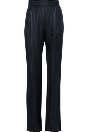 STELLA McCARTNEY Striped silk-jacquard straight-leg pants