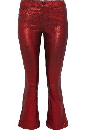 RTA Kiki metallic leather kick-flare pants