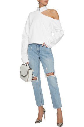 RTA Distressed mid-rise slim-leg jeans