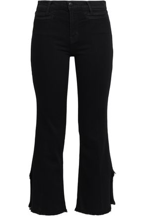 J BRAND Frayed high-rise kick-flare jeans