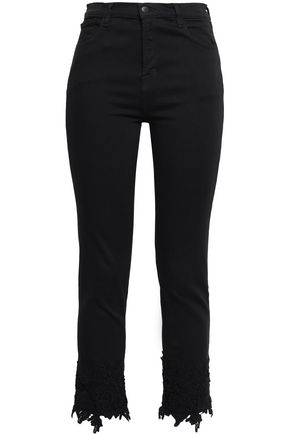 J BRAND Frayed high-rise skinny jeans