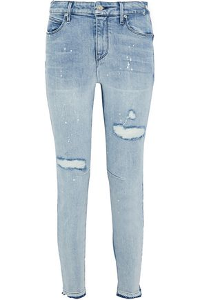 RTA Gypsy distressed two-tone mid-rise skinny jeans