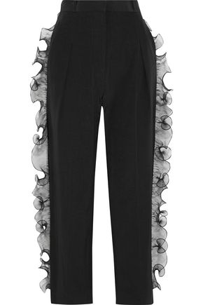 STELLA McCARTNEY Kaley ruffled organza-trimmed moire straight-leg pants