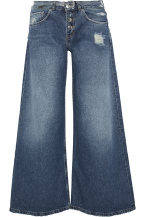 EACH X OTHER Belted distressed mid-rise wide-leg jeans