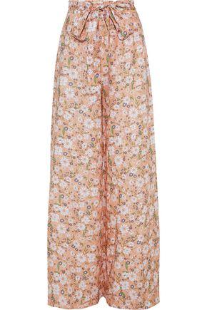 MIGUELINA Elania floral-print linen wide-leg pants