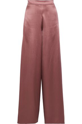 CUSHNIE Nelle split-side silk-satin wide-leg pants