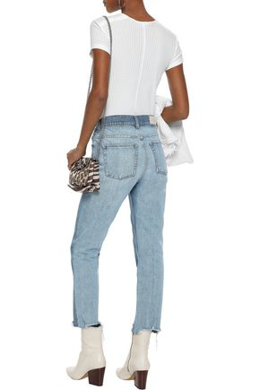IRO Argan cropped distressed high-rise slim-leg jeans