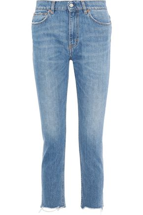 IRO Argan cropped distressed high-rise slim-leg jeans