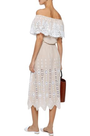 MIGUELINA Carolyn broderie anglaise cotton midi skirt