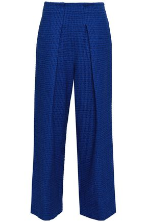 ROLAND MOURET Pleated embroidered cotton-blend twill wide-leg pants