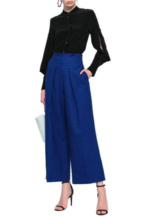 935334ca693 ROLAND MOURET Pleated embroidered cotton-blend twill wide-leg pants
